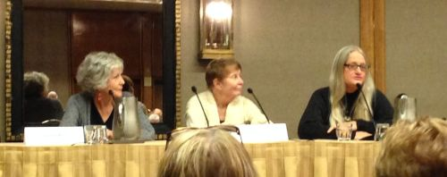 """""""In the Beginning: Reminiscing"""" - Sue Grafton and Marcia Muller, with moderator Jan Burke"""