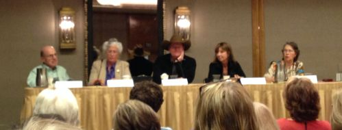 """""""Crime Fiction: The Bigger Picture"""" - Aaron Elkins, Laurie R. King, Craig Johnson, Cara Black, Janet Dawson (moderator)"""